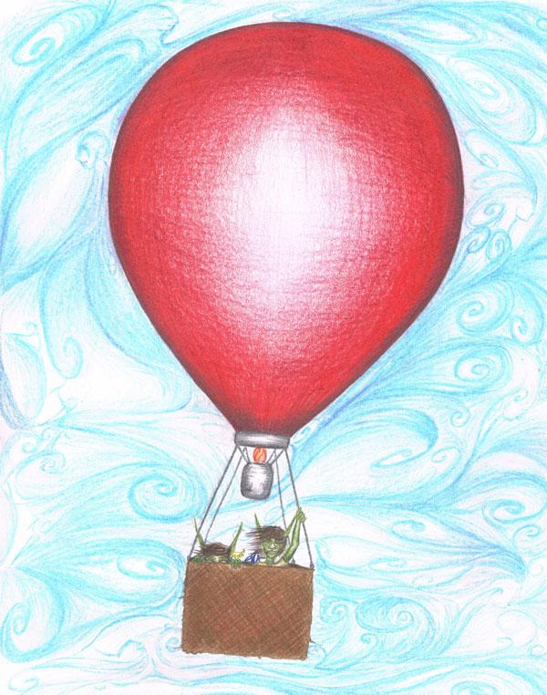 Goblin Boys in a Ballon. Copyright ©2013 Colin Van Neste Talmage. An illustration from Goblin Boys, a short story by Colin Talmage